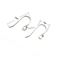 Wholesale Sterling Silver Crafting Wholesale - 925 Sterling Silver Earring Hooks Jewelry Findings Components For DIY Craft Jewelry 18mm 10pairs lot Free Shipping W045