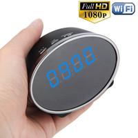 Wholesale Detection Alarm - Wifi Panda Digital Alarm Clock Security Camera HD 1080P 5.0MP Motion Detection Clock Mini camera DVR Support APP Remote View and Control