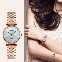 Wholesale Girls Dresses Rose - New Fashion Women Quartz Watches Casual Dress Girls Wristwatches Rhinestones Waterproof Rose Gold Silver Ladies Watch Drop Shipping