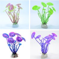 Hot Sell 1 PC Plastique Lotus Leaf Grass Plants Artificial Aquarium Décorations Plantes Fish Tank Herbe Flower Ornament Decor