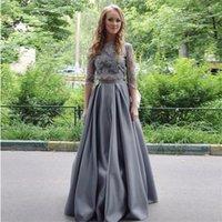 868e13e3e Compra Gris satinado vestidos de baile-Manga larga de 2 piezas vestidos de  baile de