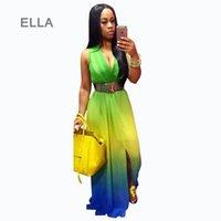 Wholesale Dipped Dresses - Boho Dress 2016 Hot Spring Women Gradient Long Maxi Beach Dress Casual Dip Dye Sleeveless V Neck Printed Bohemian Dress S-XL