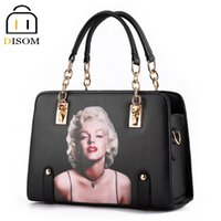 Wholesale Marilyn Monroe Bags - Wholesale-DISOM Marilyn Monroe Pattern women bags designer handbags high quality pu leather women messenger bags Black purses and handbags