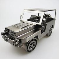 el yapımı metal araba modelleri toptan satış-El yapımı Demir Sanat Jeep Wrangler Off-road Araç Araba-styling Simülasyon Metal Araba Modeli-Koleksiyon Diecast Oto Model Oyuncak Erkekler için