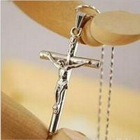 Wholesale Mens Hip Hop Jewelry Wholesale - Mens Jesus Cross Necklaces 18k Gold Fashion Hip Hop Jewelry Design Long 45CM Chains Punk Rock Rap Men Necklaces