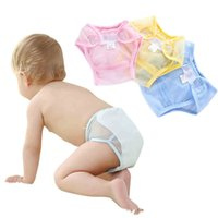 Wholesale Magic Baby Diapers - 2017 infant cotton Diapers Cover Cloth Mesh cloth Breathable Reusable baby Diaper Covers pants kids Bread pants C2690