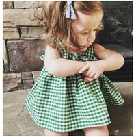 Wholesale Tank Top Hot Girl - Ins Hot Infant Baby Girls Plaid Tank Tops Babies Fashion Cotton Vests Toddler Summer Jumper Tops 2017 childrens clothing