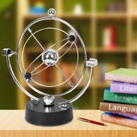 Wholesale Perpetual Desk - Wholesale- Free Shipping 1Piece Kinetic Art ! Mobile Milky Way Gizmos Perpetual Motion Spherical Pendulum Revolving Desk Orbital Toy