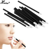 Wholesale Beauty Plastic Disposable - Halu 50PCS Lot Disposable Beauty MakeUp Lip Brush Lipstick Gloss Wands Applicator Make Up Brushes Tool 1lot Black