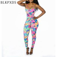 Wholesale ladies animal print jumpsuits - Wholesale- New Fashion Summer Large flower painting Jumpsuit sexy Ladies Bodycon Vestido Women Night Clubwear Clothes Playsuits