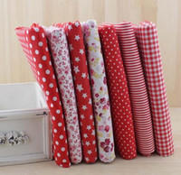 Wholesale Polka Dot Bedding Wholesalers - 7Pcs Cotton Flower Polka Dots Pre Cut DIY Handmade Decor Charm Cloth Squares Quilt Household Sewing Fabrics Textiles