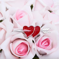Wholesale Valentine Heart Pin - Wholesale- New Red Valentine Double Heart Arrow Brooch Pin Jewelry Gifts