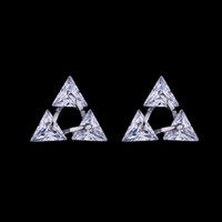 Wholesale High Quality Piercing - Hot Fashion 925 Sterling Silver Stud Earrings Zircon Crystal Triangle Pierced Ear Stud High Quality Zirconia Earring Jewelry for Women