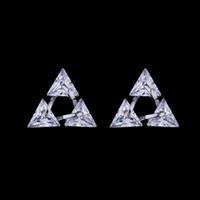 piercing joyería triángulo al por mayor-Hot Fashion 925 Sterling Silver Stud Earrings Zircon Crystal Triangle Perno perforado Stud Zirconia Pendiente de Alta Calidad de La Joyería para Las Mujeres