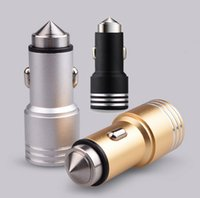 Wholesale Emergency Safety Hammer - New Arrival Universal Car Charger 2.1A+1A Dual USB Matte Metal Emergency Safety Hammer Charger Adapter for samsung s5 note 5 iphone Free DHL