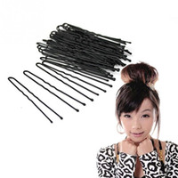 Venda por atacado - 2016 New Arrival Beleza Hair Pins 50pcs / Bag Thin U Shape Hair Bobby Pin Black Metal Clips Health Hair Care Styling Tools