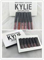 Wholesale Different Coloured Lipsticks - Newest Kylie Jenner BIRTHDAY EDITION Matte Liquid Lipstick Rouge Lip gloss Cosmetics Fini 6 Different Colour lip golss Kit Free Shipping