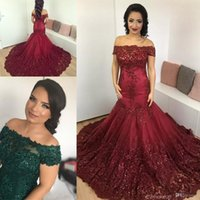 Wholesale Button Art - 2017 New Hunter Green Prom Dresses Burgundy Off Shoulder Illusion Lace Beaded Sequins Mermaid Dresses Plus Size Formal Party Evening Gowns