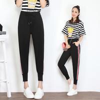 Wholesale Stripe Sweat - Lulu Fashion Woman Clothes Women Sweat Pants Elastic Waist Black Side Stripe Drawstring Zipper Leg Open for Leisure or Sport