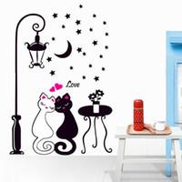 kedi odası dekor toptan satış-Duvar Sticker Kedi Çocuk Boy Yatak Odası Çocuk Fotoğraf Kağıdı Ev Dekorasyon Sanat Odası Dekor Koridor Duvar PVC Dekoratif Kız