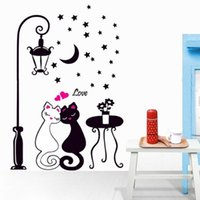Wholesale Decorative Glass Wall Art - Wall Sticker Cat Kids Boy Bedroom Children Photo Wallpaper Home Decoration Art Room Decor Hallway Mural PVC Decorative Girl