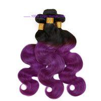 ingrosso tessuto dei capelli peruviani viola viola-Ombre Weave Hair Bundle Two tone Colore ombre viola body wave Lordo Body wave Brasiliano Peruviano Indiano Ombre estensioni dei capelli umani
