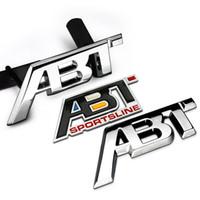 Wholesale Vw Abt - Metal ABT refit Aluminum car badge auto front grille emblem 3D ABT logo stickers car sticker decal for VW CC Polo passat b5