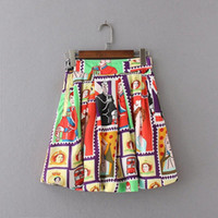 poncho americano al por mayor-Caracteres europeos y americanos patrón impreso plisada cintura gasa falda de medio cuerpo poncho