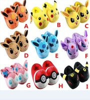 Wholesale Pokemon Sylveon Figure - 28cm 7 Styles Anime Cute Poke Pikachu Eevee Sylveon Slippers PLush Soft Toy Doll for kids gift Free Shipping