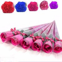 Wholesale Pack Fake Flowers - For Mather Day Gift Carnation And Lily Soaps Flower Packed Event Party Goods Favor Toilet Soap Scented Fake Rose Soap Bathroom Accessories