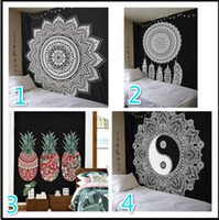 Wholesale Black White Wall Decor - 210*150cm Large Black and White Wall Cloth Tapestries Feather Printed Mandala Tapestry Wall Hanging Home Decor Beach Throw Towel