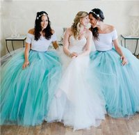 Wholesale Junior Bridesmaid Tutu Dresses Wedding - Two Pieces Floor Length Bridesmaid Prom Dresses For Wedding Party Puffy Tulle Tutu Skirt White Sky Blue Party Gown