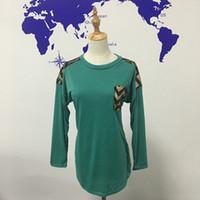Wholesale Wholesale Chevron Shirts - Chevron Sequin Green Women Shirt Cotton Long Sleeves Raglans Valentine T-Shirt with Chevron Gold and Black Sequins DOM106423