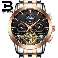 Wholesale Mechanical Binger - Wholesale- 2016 Switzerland luxury men's watche BINGER brand Mechanical Wristwatches Wristwatches sapphire full stainless steel B1188-6