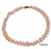 Wholesale pink freshwater cultured pearl necklace for sale - Sale Fashion mm Pink Oval Shape Natural Cultured Freshwater Pearl Necklace