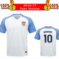 Wholesale Shirt Men Free - 2017 America Soccer Jersey 2016 17 America Home White Football Shirt 2016 Zardes USA Nagbe Dempsey Jerseys Thai Quality Free Shipping