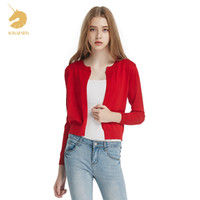 Wholesale Long Sleeved Shirts Shawl - Wholesale- Free Shipping Autumn Sweater Cardigan Sweater Coat All-match Female Small Shawl Thin Long Sleeved Bottoming Shirt Woman C166059