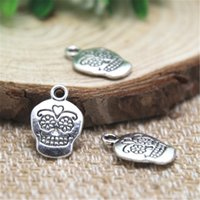 Wholesale Sugar Skull Charms - 25pcs- sugar Skull Charms , Antique Tibetan silver flower Skull Charms pendants 12x12mm
