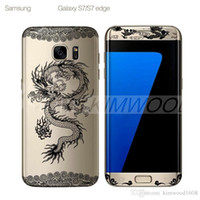 Wholesale Pet Papers - 0.1MM 3D Curved PET Full Cover Screen Protector Rose & Chinese Dragon Pattern For Samsung Galaxy S7 S6 Edge 10 Designs Paper Package