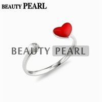 Wholesale Red Rings Jewellery - 5 Pieces Pearl Ring Semi Mount 925 Sterling Silver Red Heart Ring Blank DIY Jewellery Making