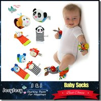 Wholesale Springs For Toys - Sozzy Baby Cute Comfortable Animal Socks Infant Cartoon Rattles Socks Developmental Toys With Ring Bells Gifts For Children