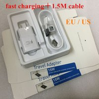 Wholesale Data Wall Box - 50Set lot Fast Charging US EU Wall Adapter + Original 1.5M Micro Usb Data Cable For Samsung S6 Edge S7 Note 4 5 With Retail box
