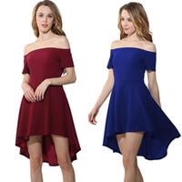 Wholesale Burgundy Cap Sleeve - 2017 New Real Sample A line Elegant Party Dress Off Shoulder Cap Sleeve Hi lo Ruffle Women Casual Dress Black Blue Burgundy Three Color