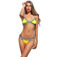 Wholesale Neoprene Thong - Women Swimsuit Thong Swimwear Retro Bikini Set Summer Bikinis Neoprene Bathing Suit for Women Suits