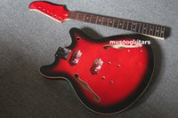 Wholesale Kit Guitar Hollow - New brand project finished electric guitar kit in red color