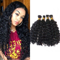 Wholesale human braiding hair 22 inches resale online - Brazilian Deep Wave Bulk Human Hair for Braiding Natural Color Bundles Hair Bulk No Weft FDSHINE