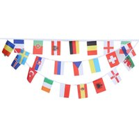 Wholesale Flag String Banner - Wholesale- 14 x 21cm 24pcs Colorful High Polyester Bunting String Hanging Flags Banner Football Euro Cup Event Party Decoration Supplies