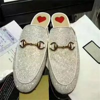 Wholesale Solid Flat Gold Chains - 2017 Women Luxury Brand Bling Bling Glitter Slippers Fashion Chain Loafers European Hot Sale Super Star Mules Shoes Free Shipping M14
