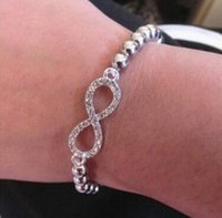 elmas sonsuzluğu toptan satış-Moda Kadınlar Kristal Rhinestone Çapraz Aşk Infinity Streç Elmas Boncuklu Bileklik Bilezik Hediye Altın Gümüş Boncuklu Zincir Bilezikler