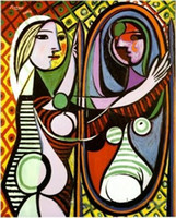 Wholesale Pablo Picasso Oil - GIRL BEFORE A MIRROR by Pablo Picasso,100% Hand Painted Abstract Art oil painting on High Quality Canvas Home Decor size can customized